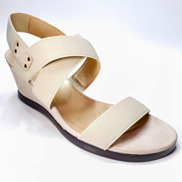 Stuart Weitzman Wedge Suede Heel Elastic Ankle Strap Beige Sandals Womens 8.5 M